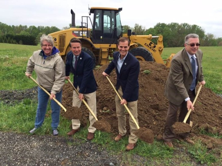 Groundbreaking for Darlington Park, which is planned to include a multipurpose field, landscaping and parking on 11.5 acres of county-owned property at 4549 Conowingo Rd. Pictured from left: Jane Howe, secretary for the Dublin/Darlington Rec Council; Harford County Executive Barry Glassman, Director of Administration Billy Boniface and Acting Director of Parks & Rec Paul Magness.