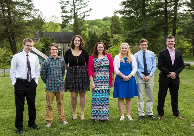 2016 Environmental Scholarship recipients from left to right: Jarred Kinlein, Daniel Wesdock, Catherine Butz, Megan Greene, Cassidy Titus, Patrick Hertitier-Robbins, Mason Boeren.