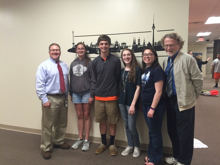 Pictured from left to right: Fallston High School Principal Richard Jester, Marley Downes, Saxon Brown, Sarah Ross, Rachel Donohue and German Teacher Richard Jones.