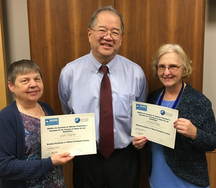 Pictured: Linda Pegram, Health Officer Dr. Russell Moy, and Dottie Ruff