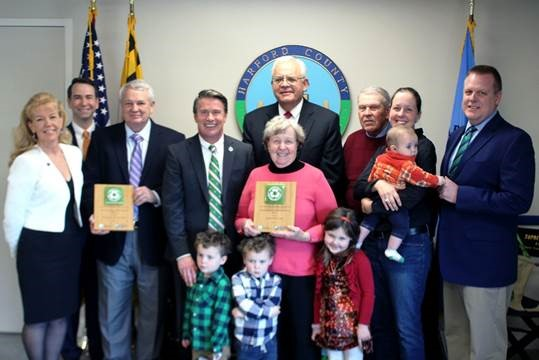 Harford County recognizes its 2017 Business Recycling and Waste Reduction award winners. Pictured from left: Wendy Doring, Recycling Program Manager, Maryland Environmental Service; Roy McGrath, Director/CEO, Maryland Environmental Service; Lou Ward, Owner, The Bayou Restaurant; Harford County Executive Barry Glassman; Steve Tomczewski, Managing Director, Environmental Operations, Maryland Environmental Service; Janet Archer, Owner, Fawn View Manor Farm; James Archer, Owner, Fawn View Manor Farm; Mary Stewart, Owner, Fawn View Farm, with six-month-old Thomas Stewart; Jeff Schoenberger, Administrator,  Harford County Public Works. Front and center from left: Zachary (3), Bradley (3) and Abigail (5) Stewart.