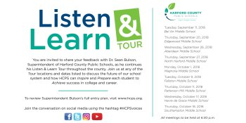LISTEN AND LEARN TOUR DATES ANNOUNCED BY HARFORD COUNTY PUBLIC SCHOOLS SUPERINTENDENT BULSON