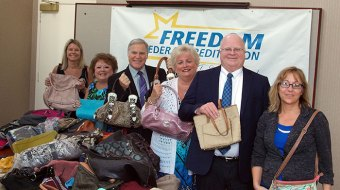 Freedom Federal Credit Union Collects Hundreds of Handbags To Support Harford County's Homeless