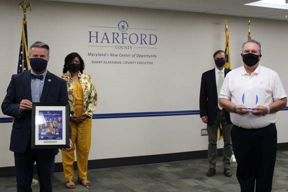 Pictured from left: County Executive Barry Glassman; Deputy Director of Community Services Sylvia Bryant; Chief Advisor Billy Boniface; Tom Yingling, Shining Light Award winner.