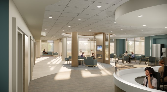 <br><br><strong>Behavioral Health Common Area: </strong>The common area supports self-contained, residential-like design elements in this rendering of a behavioral health common area at University of Maryland Upper Chesapeake Medical Center – Aberdeen. (Courtesy of Erdman)