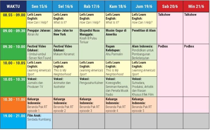 Jadwal Belajar TVRI Minggu Ke 10