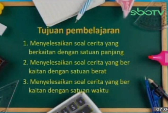 Soal SBO TV 23 Oktober 2020 Kelas 3