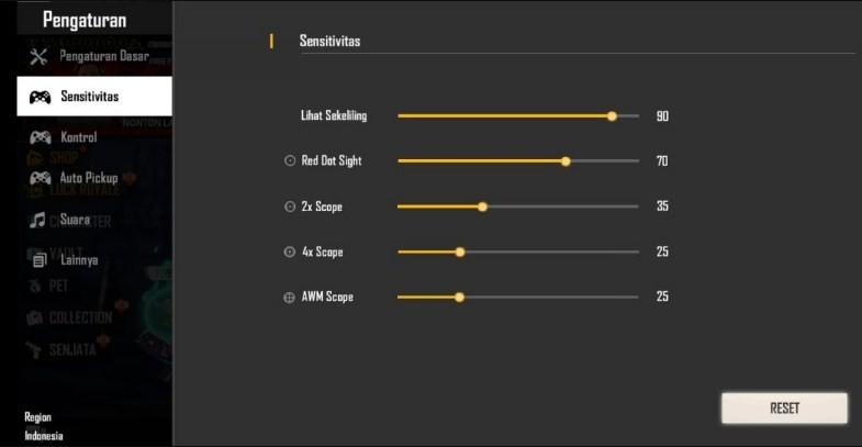 Sensitivitas FF Auto Headshot Oppo