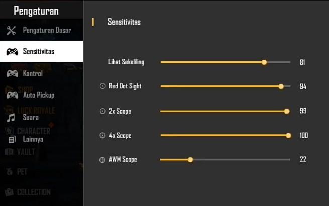 Settingan Sensitivitas FF Auto Headshot Terbaik