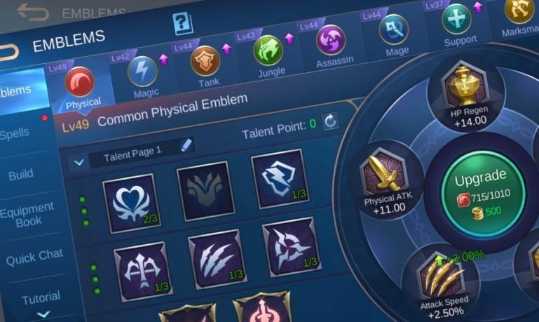 Cara Setting Emblem Fighter Mobile Legends