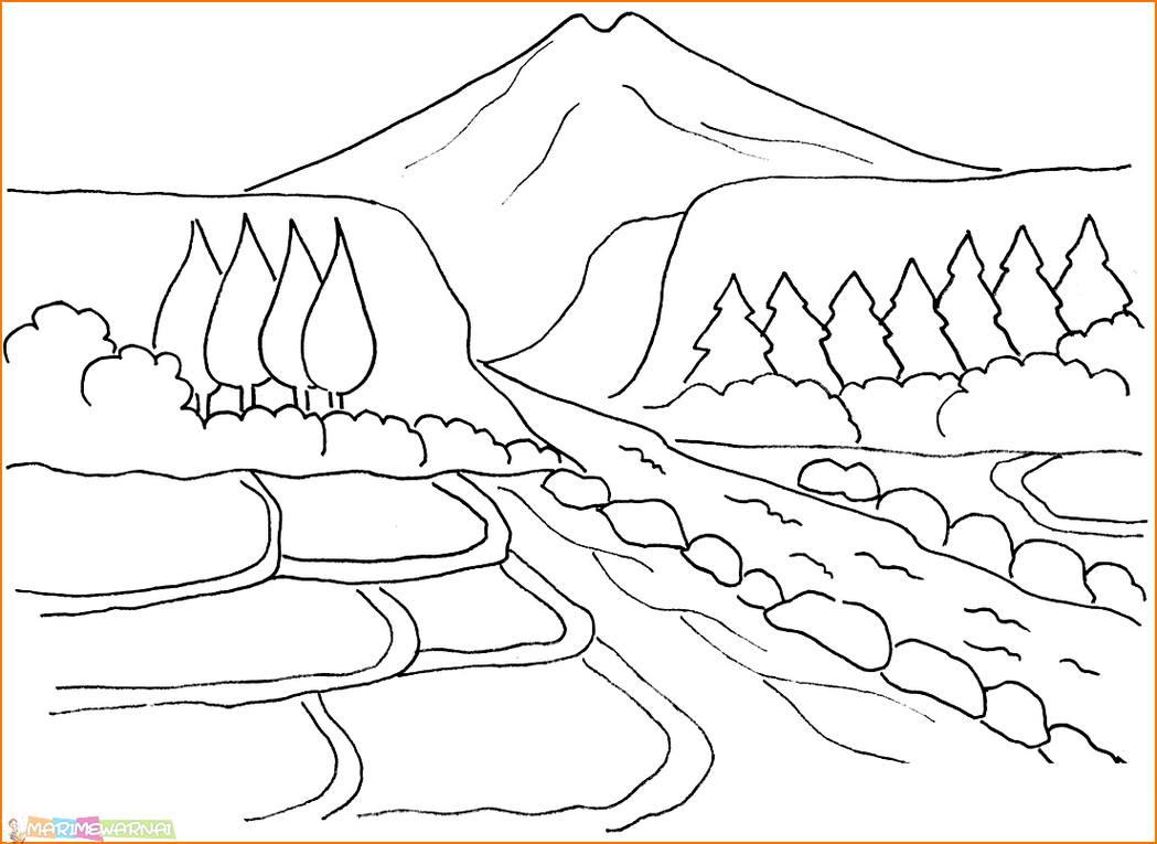 51 Contoh Lukisan Pemandangan Yang Mudah Digambar Gratis Terbaik