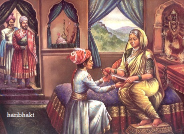 Blessings of Jijamata and Shivaji Maharaj on Sambhaji