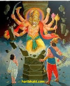 Narasimha emerging from the pillar