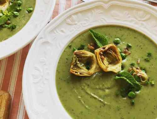 artichoke, pea and mint soup served