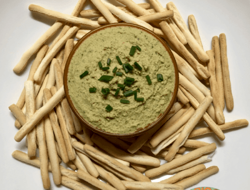 hummus with coriander and lime in bowl