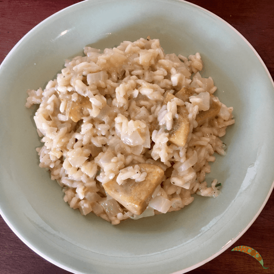 leek risotto with artichoke