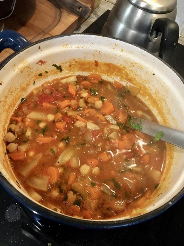 harira soup in pot
