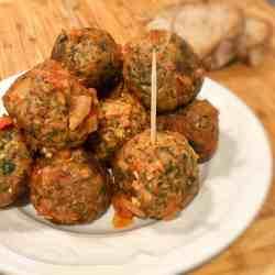 vegan meatballs, aubergine balls