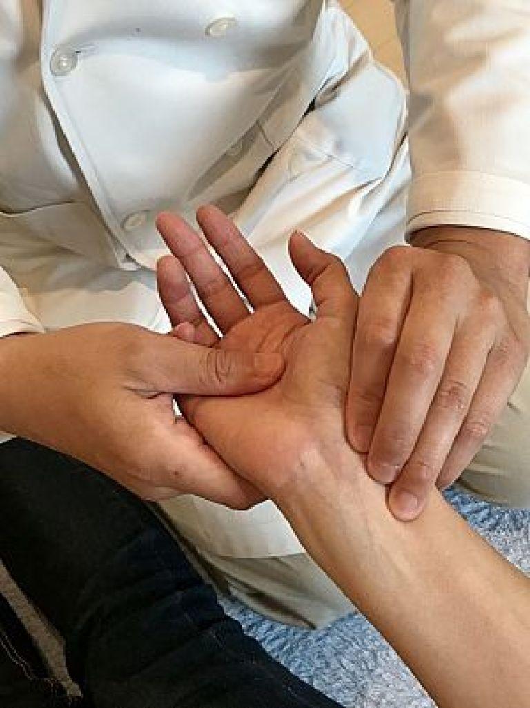 鍼道五経会の脈診の写真