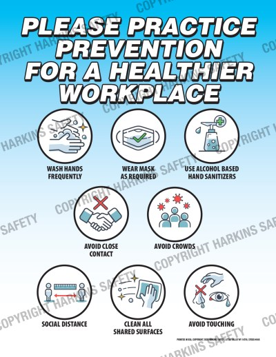 646 WM Hygiene - Please Practice Prevention For A Healthier Workplace (Poster) PT646