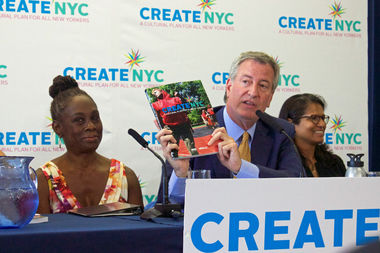 Mayor Bill de Blasio and First Lady Chirlane McCray at a press conference announcing