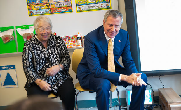 Mayor Bill de Blasio and Chancellor Carmen Farina inside a