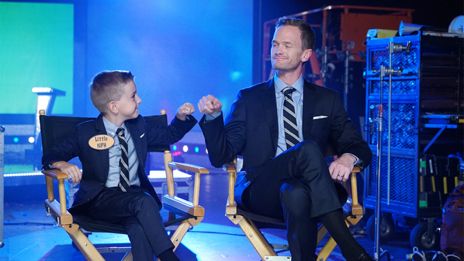 """BEST TIME EVER WITH NEIL PATRICK HARRIS -- """"Zip Line Promo"""" -- Pictured: (l-r) Nathaniel Motulsky as Little NPH, Neil Patrick Harris -- (Photo by: Chris Haston/NBC)"""