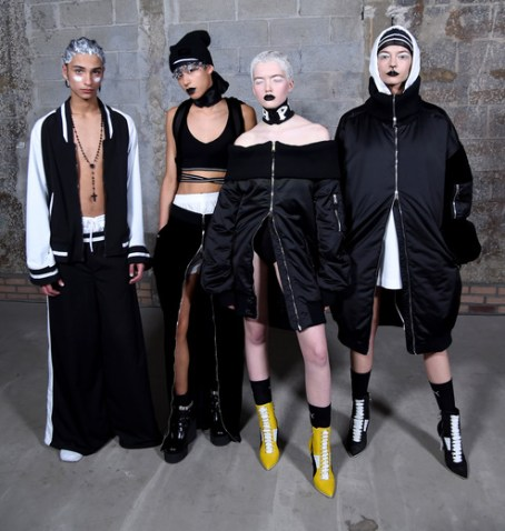 Models pose backstage at the FENTY PUMA by Rihanna AW16