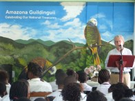 Mel Jameson of Buccament Bay Resort speaking at the hand over event at Buccament Bay Secondary School