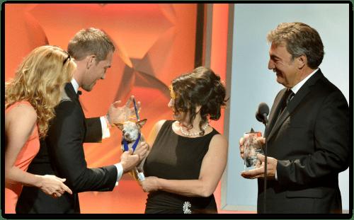 Harley receiving his Emerging Hero Award