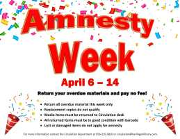 Amnesty Week @ Circulation Desk (Front Desk)