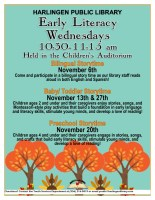 Early Literacy Wednesdays @ Harlingen Public Library- Library Auditorium