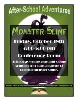 """After-School Adventures """"Monster Slime"""" @ Harlingen Public Library Conference Room"""