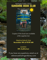 """Sunshine Book Club """"The Book Woman of Troublesome Creek"""" By Kim Michele Richardson @ Harlingen Public Library - Auditorium"""