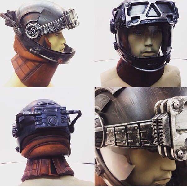 Leather neck pieces and helmet padding made for The Expanse