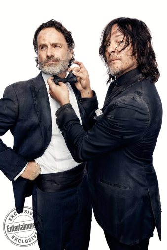 Andrew Lincoln and Norman Reedus, from the cast of The Walking Dead photographed exclusively for Entertainment Weekly by Art Streiber on June 24th. 2017 in Senoia Georgia. Styling: Elaine Montalvo Prop Styling: John Sanders Costumers: Mia Nunnally, Derrick Vener