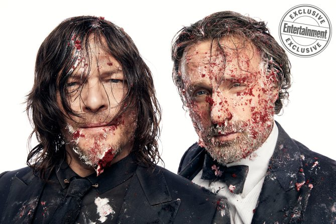 Norman Reedus and Andrew Lincoln, from the cast of The Walking Dead photographed exclusively for Entertainment Weekly by Art Streiber on June 24th. 2017 in Senoia Georgia. Styling: Elaine Montalvo Prop Styling: John Sanders Costumers: Mia Nunnally, Derrick Vener