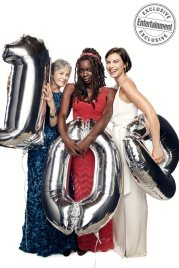 Melissa McBride, Danai Gurira, and Lauren Cohan from the cast of The Walking Dead photographed exclusively for Entertainment Weekly by Art Streiber on June 24th. 2017 in Senoia Georgia. Styling: Elaine Montalvo Prop Styling: John Sanders Costumers: Mia Nunnally, Derrick Vener