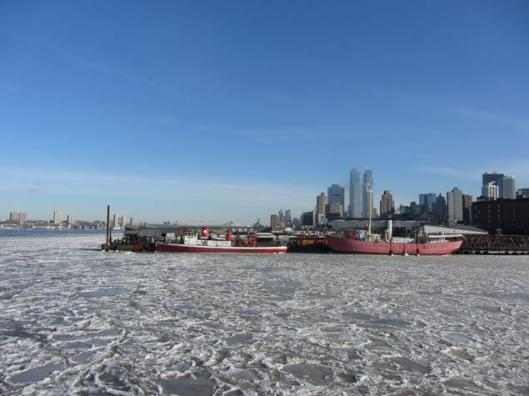 Ice in the Hudson River off Manhattan's West Side.