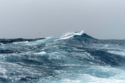 Big ocean swells in open water of the Southern Ocean