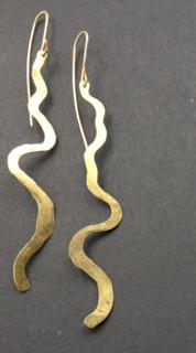 brass earrings flow like a river