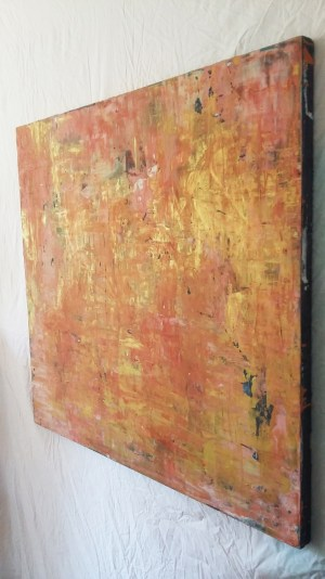 Image: painting of peach and metallic gold abstracted landscape.