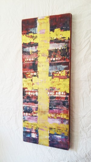 Image: painting of metallic gold stripes against wine red background.