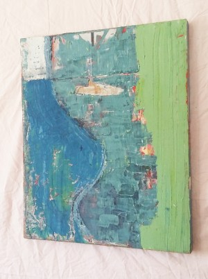 Image: painting of abstracted shipyards in teal and blue.
