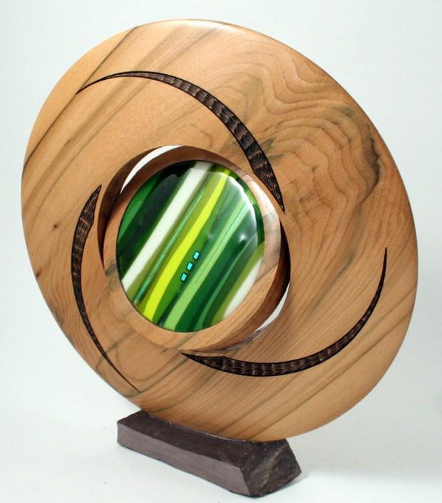 Discus sculpture slate base