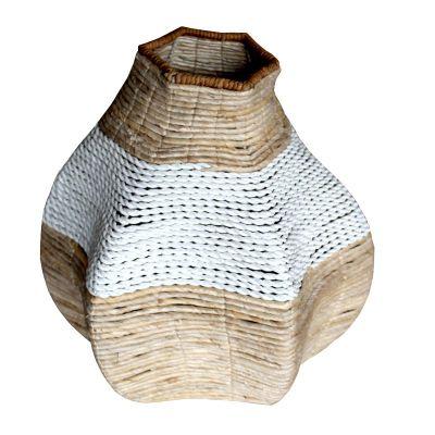 HVS552, organic vase, bahan banana, metal frame, plastic raffia