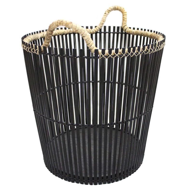 HOB1764, round laundry basket, bahan bamboo, metal, banana size dia.top 47cm, dia.base 36,5cm, H.45,5cmHT.54cm