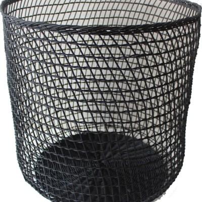 Rattan round basket in black