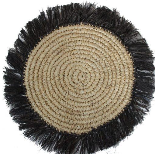 HPM974 Sisal Round pmat in nat with black fringe