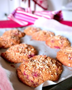 Raspberry Coconut Polenta Scones after baking (DSC_0855)